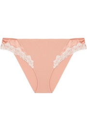 La Perla Poem macramé lace and satin-trimmed stretch-silk georgette briefs