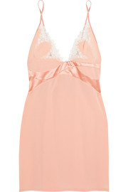 La Perla Macrame Poem lace and satin-trimmed silk-blend georgette chemise