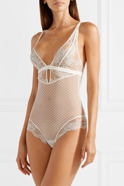 Tuberose stretch-Leavers lace and tulle bodysuit