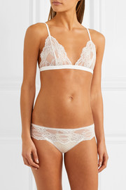Tuberose stretch-jersey and Leavers lace soft-cup triangle bra