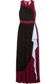 Milda color-block plissé-georgette maxi dress