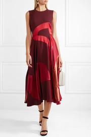Keanu paneled silk-blend georgette midi dress