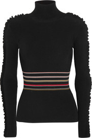 Roksanda Diona ruffled striped stretch-knit turtleneck sweater