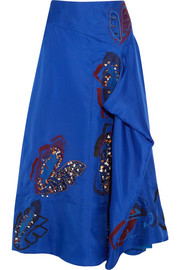Calda embellished appliquéd silk midi skirt