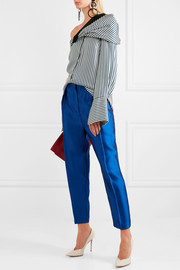 Wool-blend lamé tapered pants
