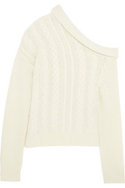 One-shoulder cable-knit wool-blend sweater