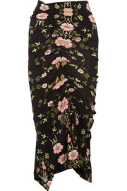 Preen by Thornton Bregazzi Clio ruched floral-print stretch-crepe de chine midi skirt