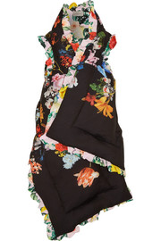Posey ruffled floral-print silk crepe de chine padded wrap