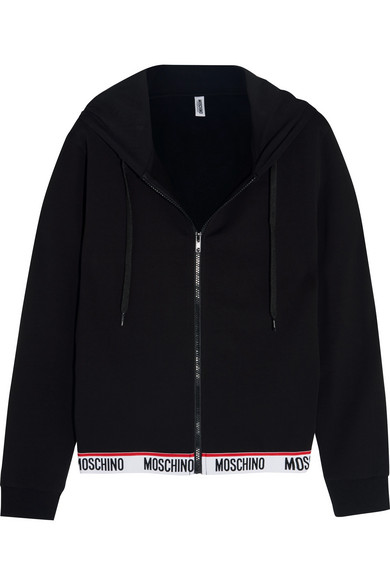 Moschino - Cotton-blend And Fleece Hooded Top - Black