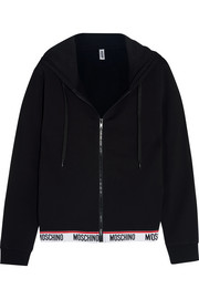 Moschino Cotton-blend and fleece hooded top