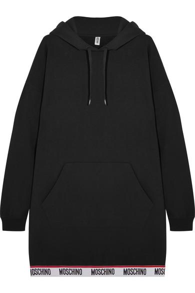 Moschino - Hooded Cotton-blend Fleece Mini Dress - Black