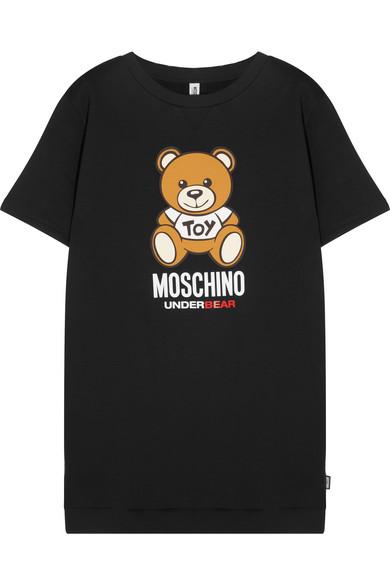 Moschino - Printed Cotton-fleece Tunic - Black