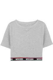 Moschino Cropped cotton-blend fleece top