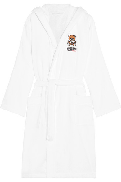 Moschino - Appliquéd Hooded Cotton-blend Terry Robe - White