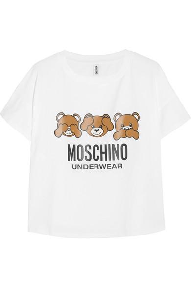 Moschino - Printed Stretch-cotton Jersey T-shirt - White
