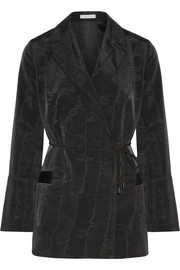 Belted moire blazer