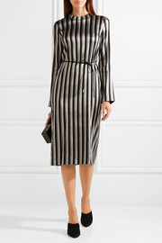 Metallic striped woven midi dress