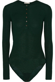 Ribbed wool, cashmere and silk-blend bodysuit