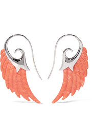 Noor Fares Wing 18-karat white gold coral earrings