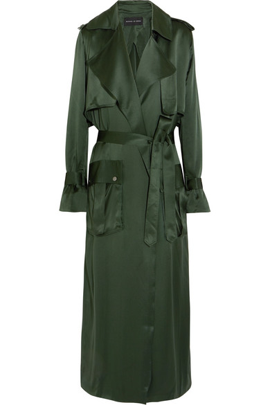 Michael Lo Sordo - Silk-satin Trench Coat - Dark green