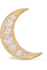 Mini Crescent 18-karat gold diamond earring
