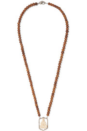 Loree Rodkin Wood, bone, 18-karat white gold and diamond necklace