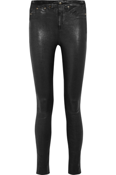 High Rise Skinny Leather Jeans - Black Size 27 in 001 Black