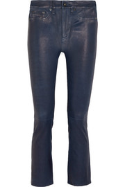 Hana cropped stretch-leather bootcut pants