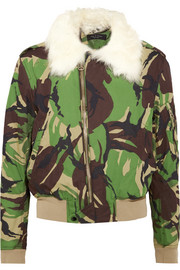 rag & bone Shearling-trimmed camouflage-print cotton-canvas bomber jacket