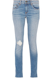 Dre distressed mid-rise slim-leg jeans