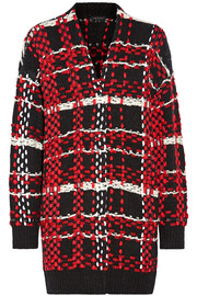 Dawson checked merino wool-blend cardigan