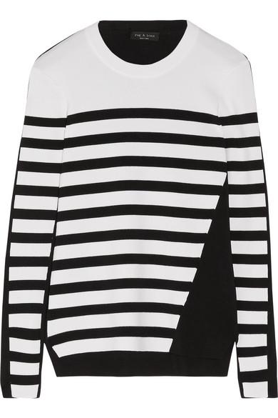 Rag & Bone Woman Cecilee Striped Merino Wool-blend And Stretch-knit Sweater Ivory Size M Rag & Bone 2018 New Cheap Price JHysQFCKmM