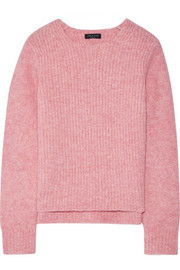 Francie suede-trimmed ribbed merino wool-blend sweater