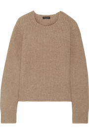 Francie suede-trimmed wool-blend sweater