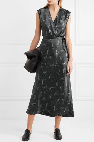 Vince Wrap Effect Printed Silk Satin Midi Dress Net A