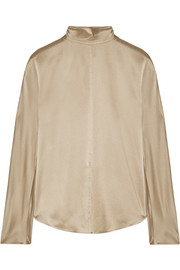 Silk-satin turtleneck blouse