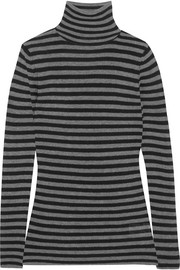 Ribbed striped cashmere turtleneck sweater