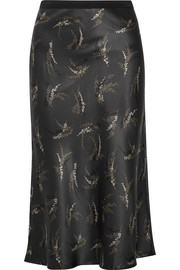 Printed silk-satin midi skirt