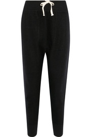 Cropped boiled cashmere-blend track pants