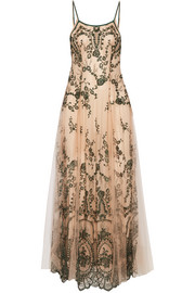 La Naissance D'Aphrodite embroidered tulle nightdress