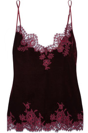 Rose Imperial Chantilly lace-trimmed velvet camisole