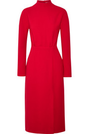 Milan open-back wool-crepe midi dress