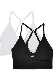 Helen set of two organic Pima cotton-blend jersey soft-cup triangle bras