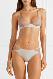 Gracen lace and stretch-Pima cotton-jersey soft-cup bra