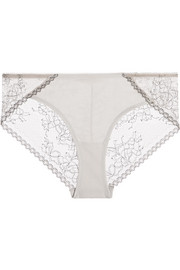 Gracen lace and stretch-Pima cotton-jersey briefs