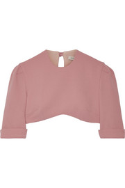 Dian cropped wool-crepe top