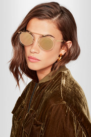 Potentially cat-eye gold-tone mirrored sunglasses