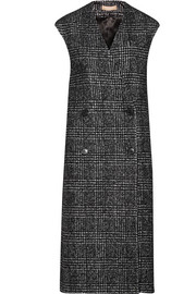 Houndstooth wool-blend double-breasted vest