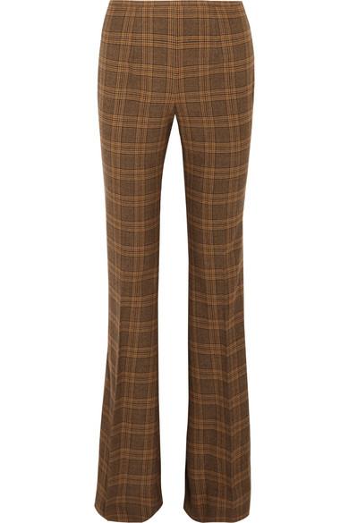 Michael Kors Collection - Lyndon Plaid Wool-blend Flared Pants - Brown