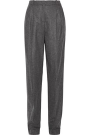 Pleated wool and cashmere-blend tapered pants